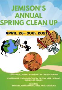 Annual Jemison Cleanup April 26-30, 2021